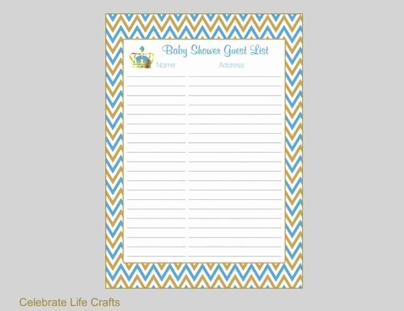 Printable Baby Shower Guest List Unique Crown Baby Shower Guest List Printable Baby Shower Sign