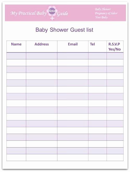 Printable Baby Shower Guest List Unique Free Printable Baby Shower Guest List