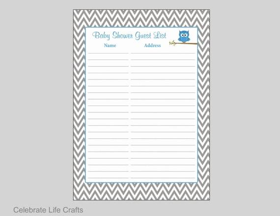 Printable Baby Shower Guest List Unique Owl Baby Shower Guest List Printable Baby Shower Sign In