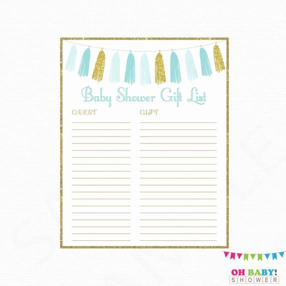Printable Baby Shower Guest List Unique Printable Gift List Boy Baby Shower Guest Sign In Sheet