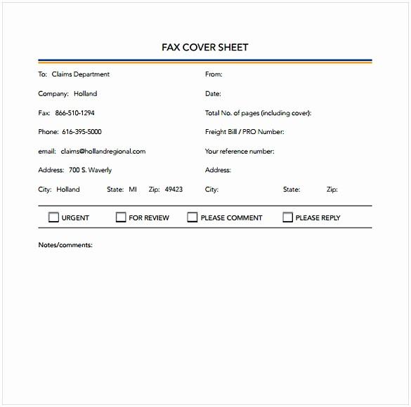 Printable Basic Fax Cover Sheet Lovely Basic Fax Coversheet
