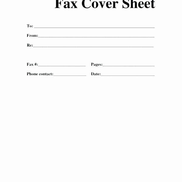 Printable Basic Fax Cover Sheet New Basic Fax Cover Sheet
