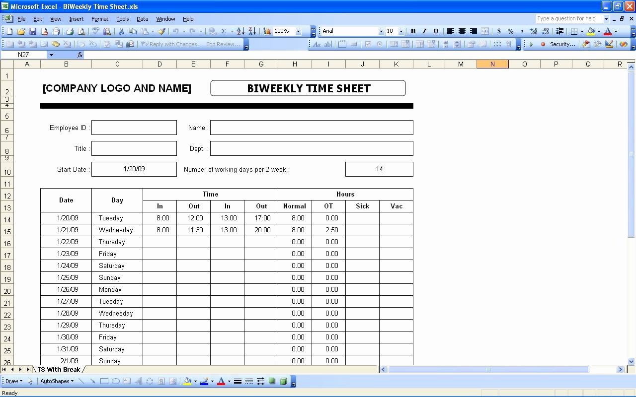 Printable Bi Weekly Time Sheets Beautiful Time Sheets