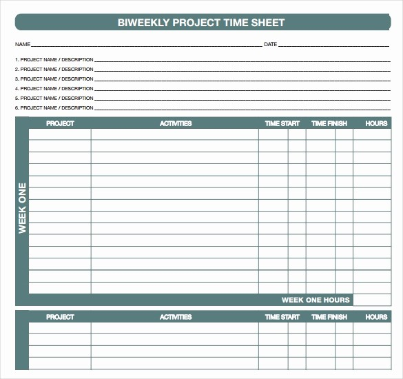 Printable Bi Weekly Time Sheets Best Of 18 Bi Weekly Timesheet Templates – Free Sample Example