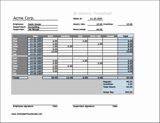 Printable Bi Weekly Time Sheets Fresh Biweekly Timesheet Horizontal orientation Work Hours