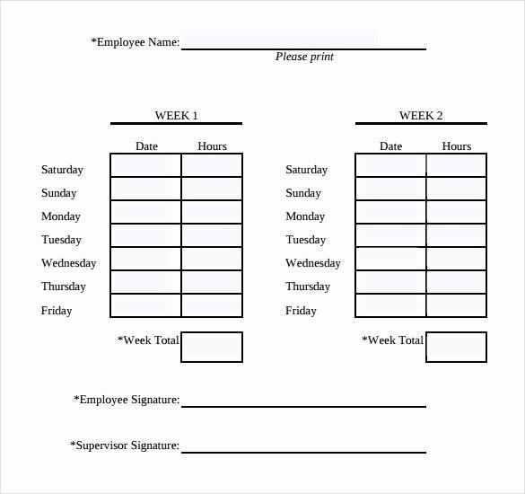 Printable Bi Weekly Time Sheets New Simple Weekly Timesheet