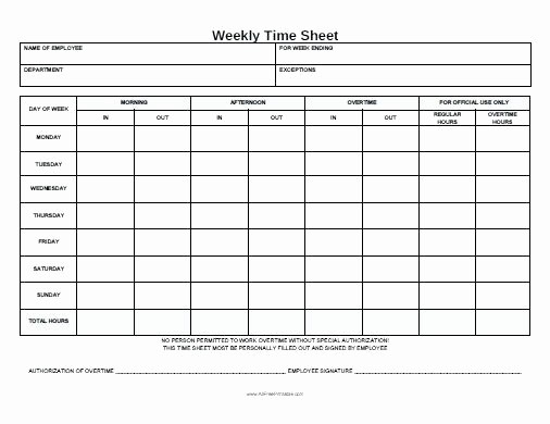 Printable Bi Weekly Time Sheets Unique Printable Weekly Time Card Template Sheets Free Employee