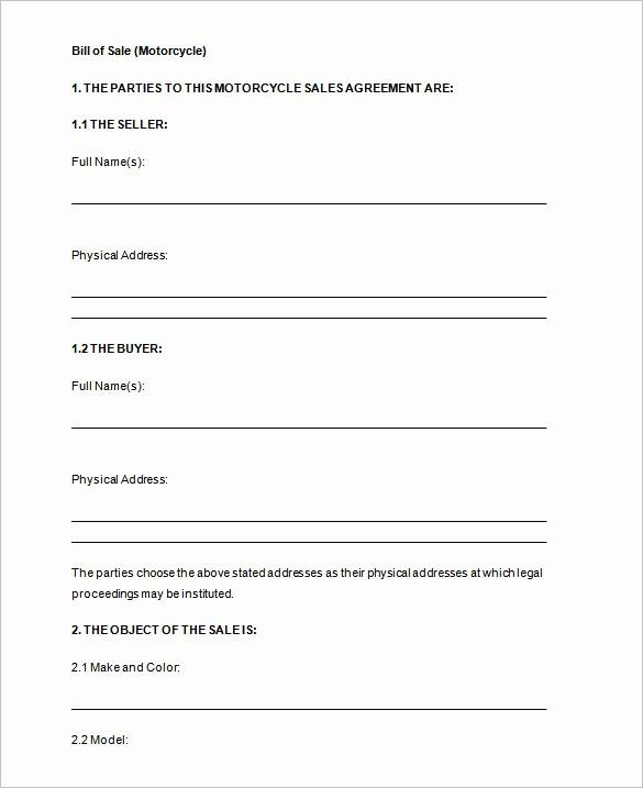 Printable Bill Of Sale Automobile Elegant Bill Of Sale Template 44 Free Word Excel Pdf