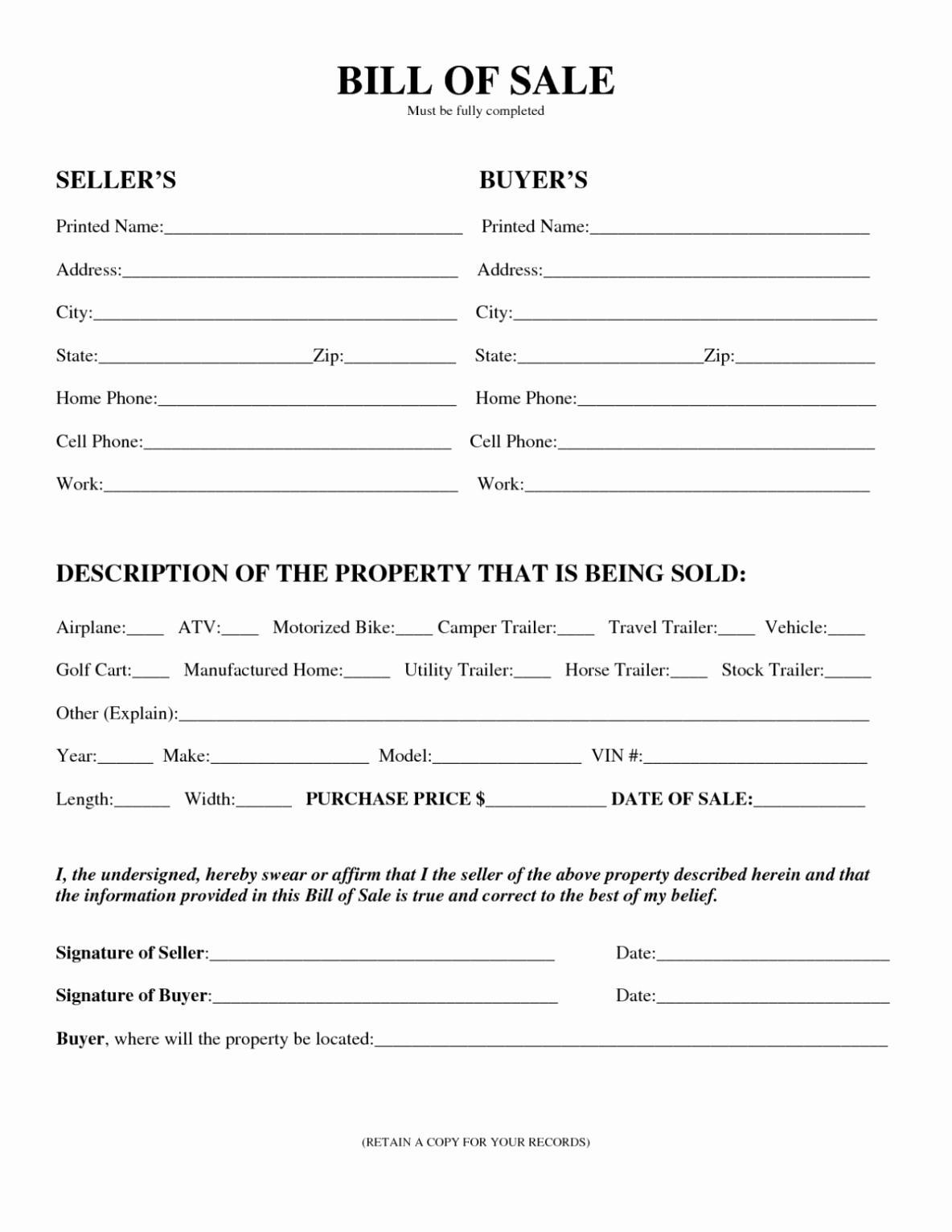 Printable Bill Of Sale Automobile Fresh Motor Vehicle Bill Of Sale Template Printable