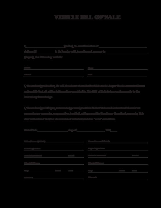 Printable Bill Of Sale Automobile Luxury Car Bill Sale Pdf