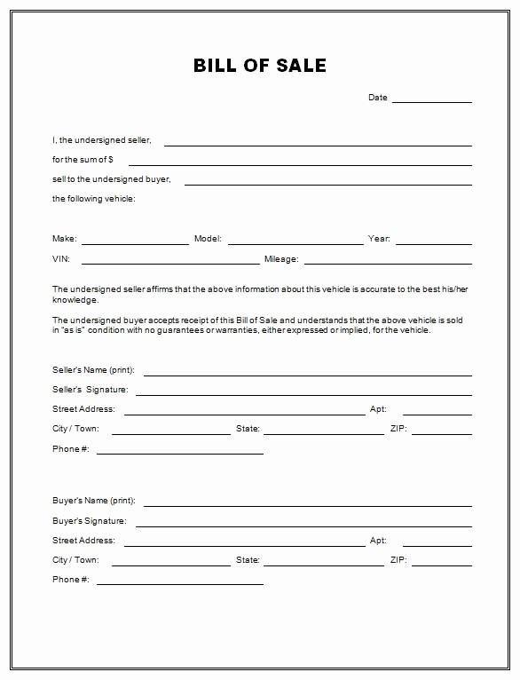 Printable Bill Of Sale Automobile Luxury Free Printable Free Car Bill Of Sale Template form Generic