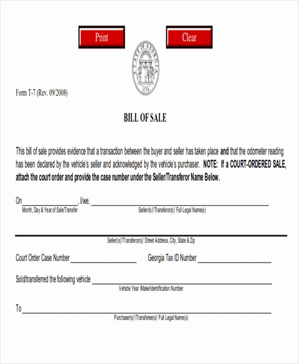 Printable Bill Of Sale Ga Beautiful 7 Generic Bill Of Sales