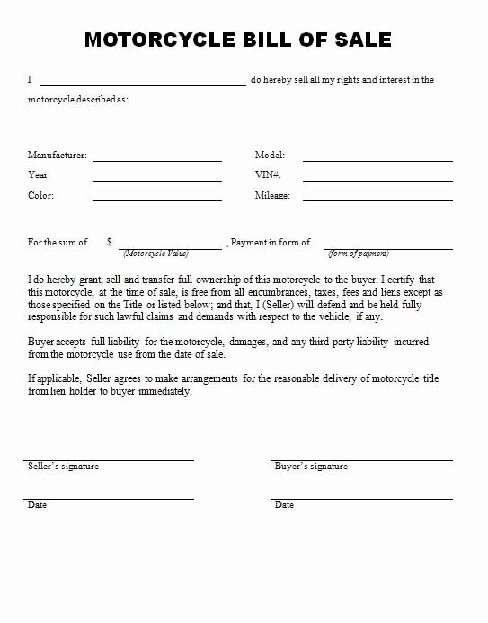 Printable Bill Of Sale Ga Fresh Free Printable Bill Sale form form Generic
