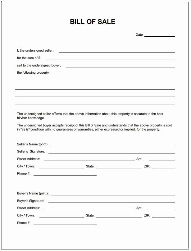 Printable Bill Of Sale Ga New Blank Bill Sale