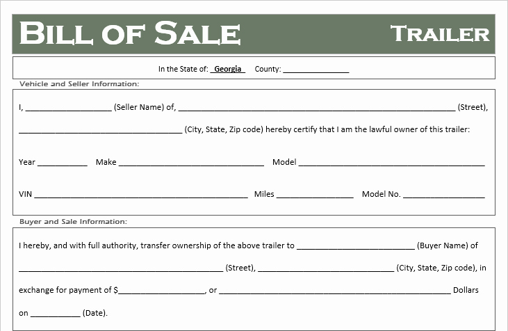 Printable Bill Of Sale Ga New Free Georgia Trailer Bill Of Sale Template F Road Freedom
