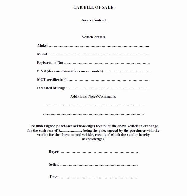 Printable Bill Of Sale Vehicle Inspirational Free Printable Free Car Bill Of Sale Template form Generic
