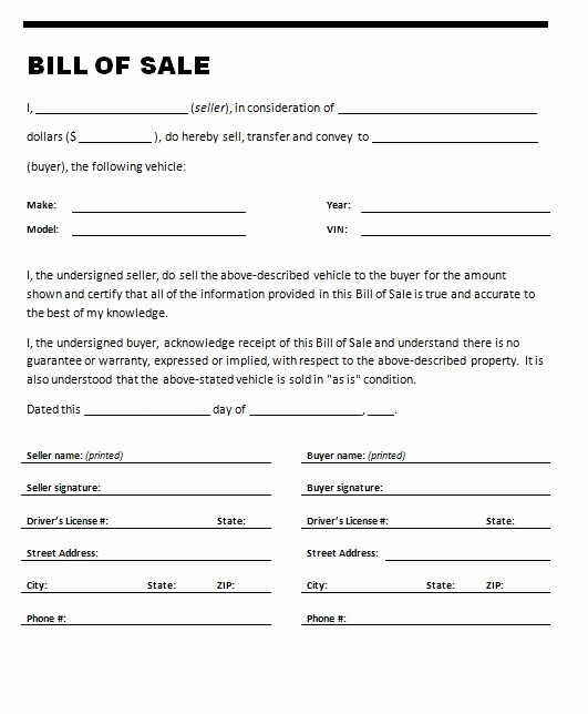 Printable Bill Of Sale Vehicle New Free Printable Car Bill Of Sale form Generic