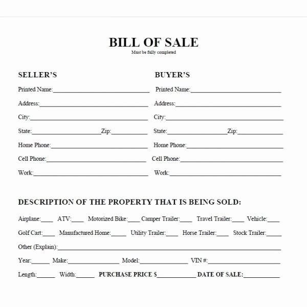 Printable Bill Of Sale Vehicle New Printable Car Bill Of Sale Pdf
