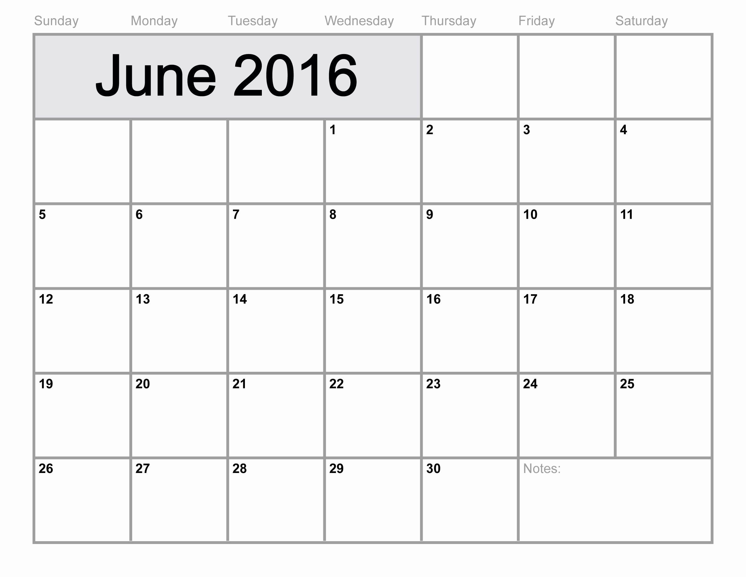 Printable Blank Monthly Calendar Template Best Of June 2016 Calendar Printable Monthly Blank Calendar 2016