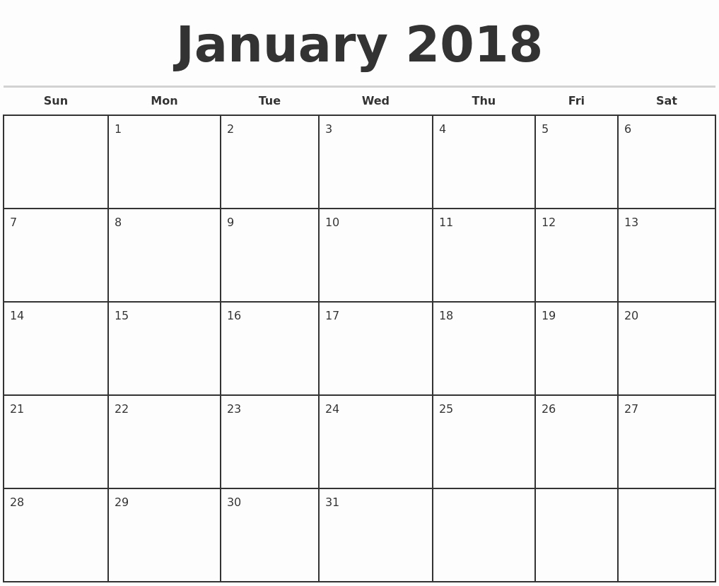 Printable Blank Monthly Calendar Template Fresh January 2018 Monthly Calendar Template