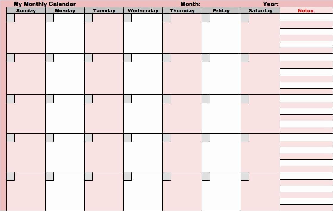 Printable Blank Monthly Calendar Template Inspirational 14 Blank Activity Calendar Template Printable