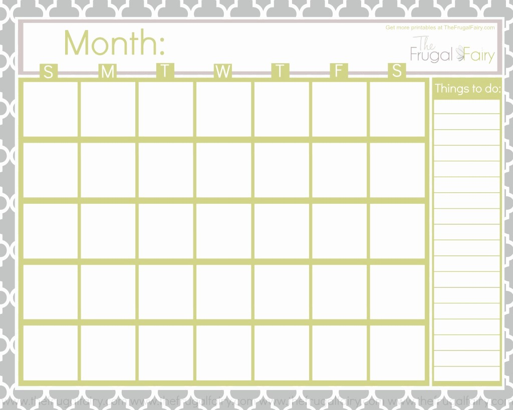 Printable Blank Monthly Calendar Template Inspirational Calendar Printable Gallery Category Page 1