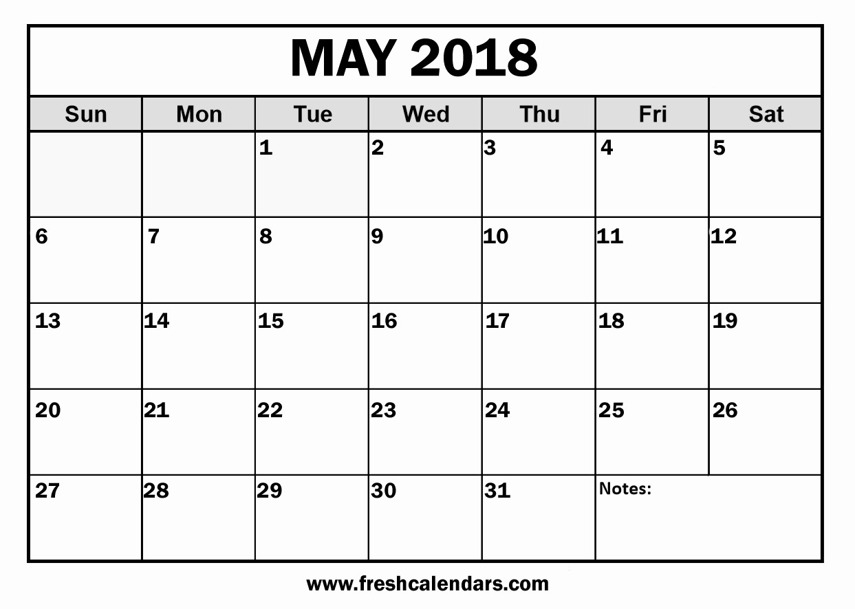 Printable Blank Monthly Calendar Template Inspirational May 2018 Calendar – Free Download