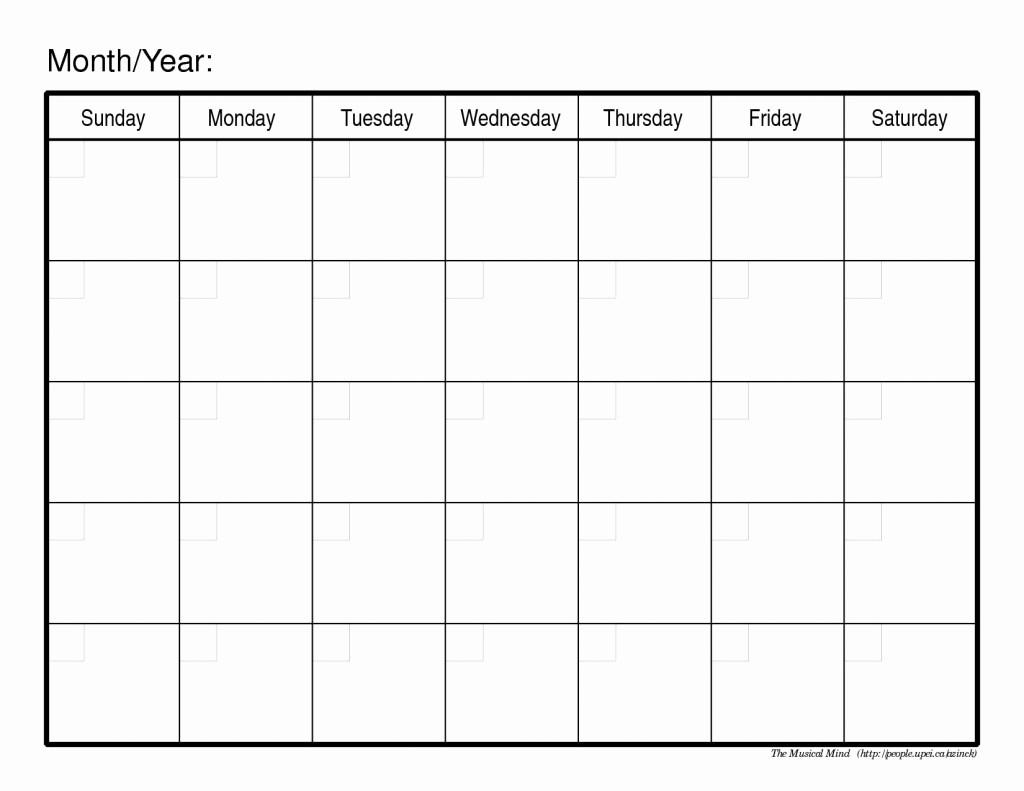 Printable Blank Monthly Calendar Template Inspirational Printable Calendars