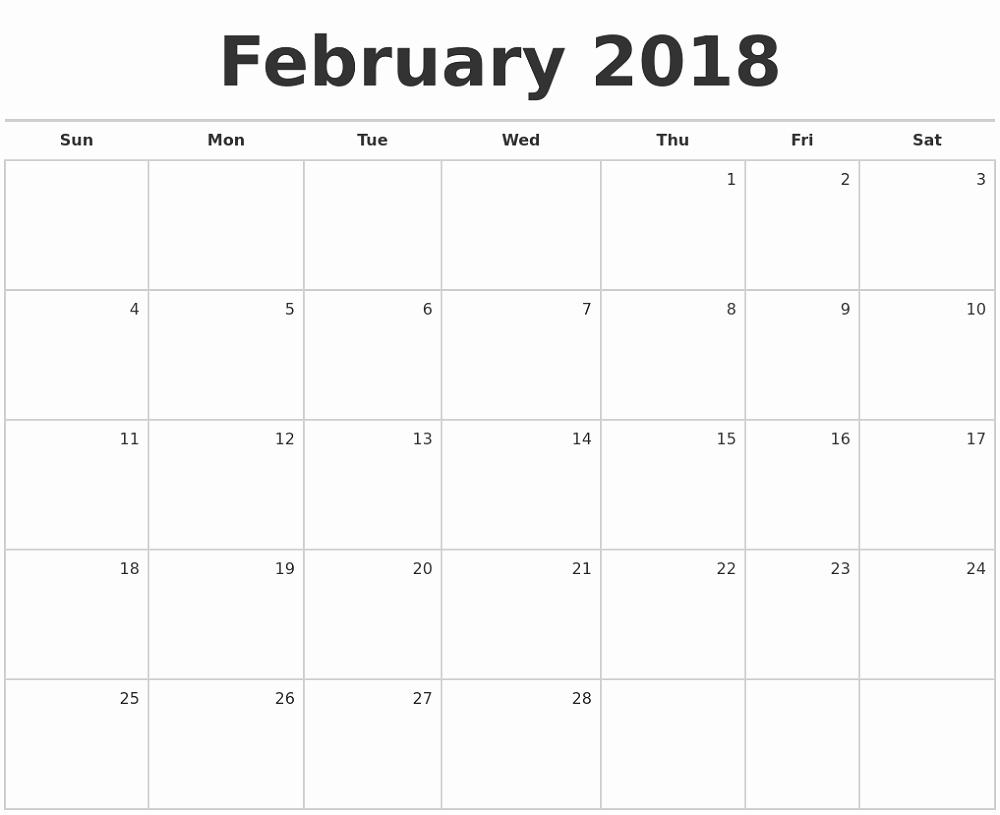 Printable Blank Monthly Calendar Template Lovely Printable Blank 2018 Monthly Calendars