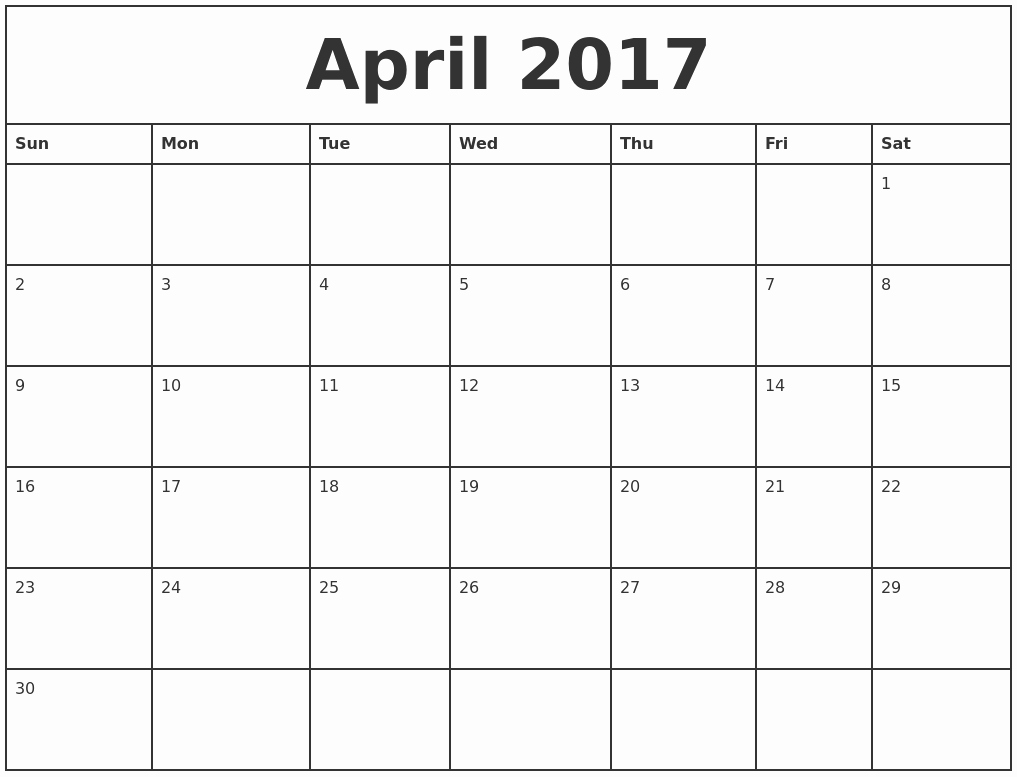 Printable Blank Monthly Calendar Template Unique Blank Monthly Calendar 2017