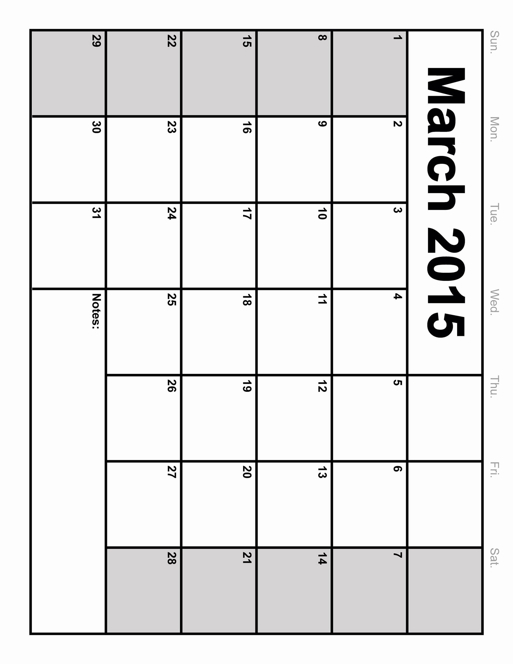 Printable Blank Monthly Calendar Template Unique March 2015 Calendar Printable Monthly Blank Calendar 2015