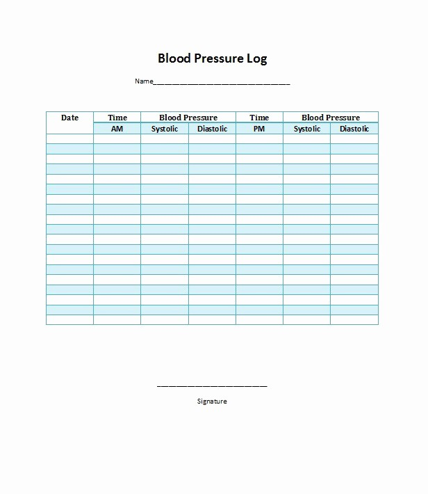 Printable Blood Pressure Chart Template Elegant 30 Printable Blood Pressure Log Templates Template Lab