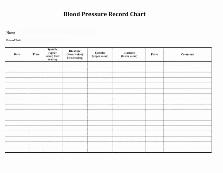 Printable Blood Pressure Chart Template Fresh 56 Daily Blood Pressure Log Templates [excel Word Pdf]