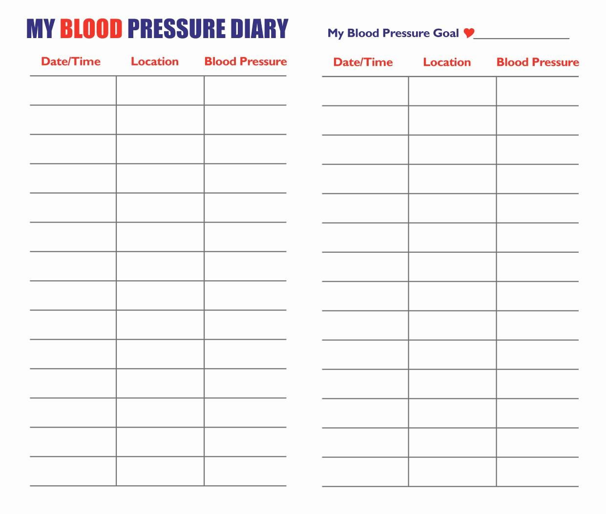 Printable Blood Pressure Chart Template Fresh 7 Best Of Blood Pressure Log Pdf Printable