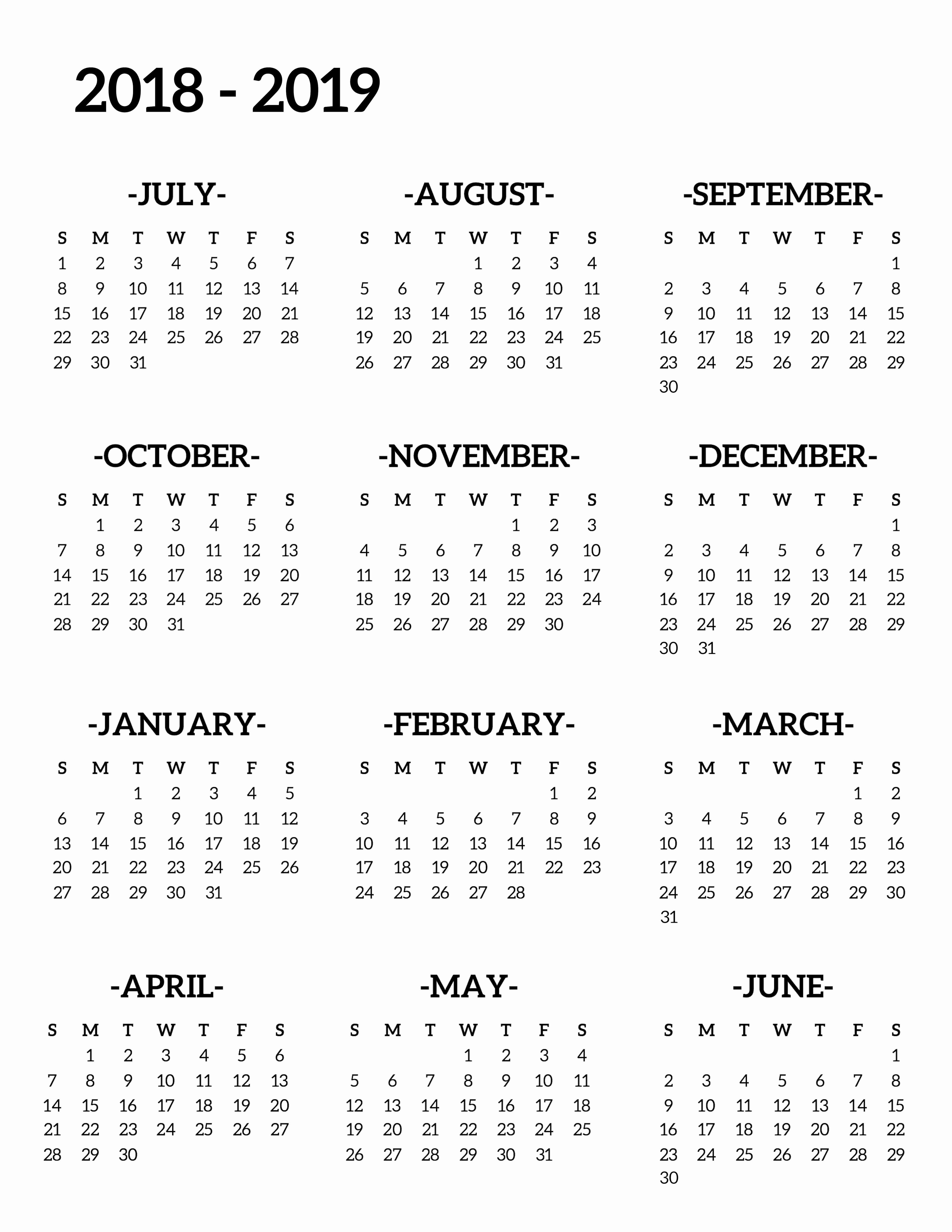 Printable Calendar 2018 and 2019 Awesome 2018 2019 School Calendar Printable Free Template Paper