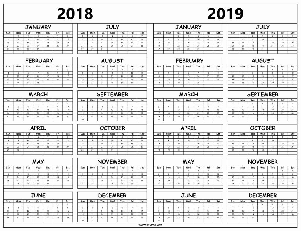Printable Calendar 2018 and 2019 Beautiful Calendar 2018 2019
