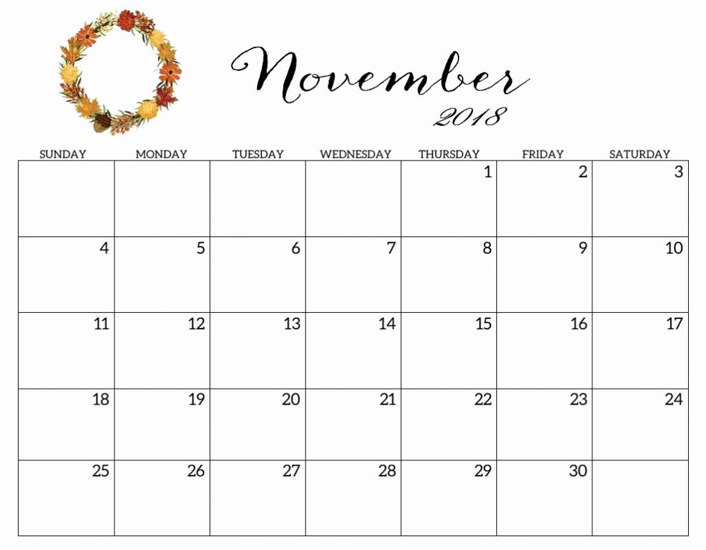 Printable Calendar 2018 and 2019 Beautiful Cute Printable Calendar 2019 November 2018 Calendar Cute