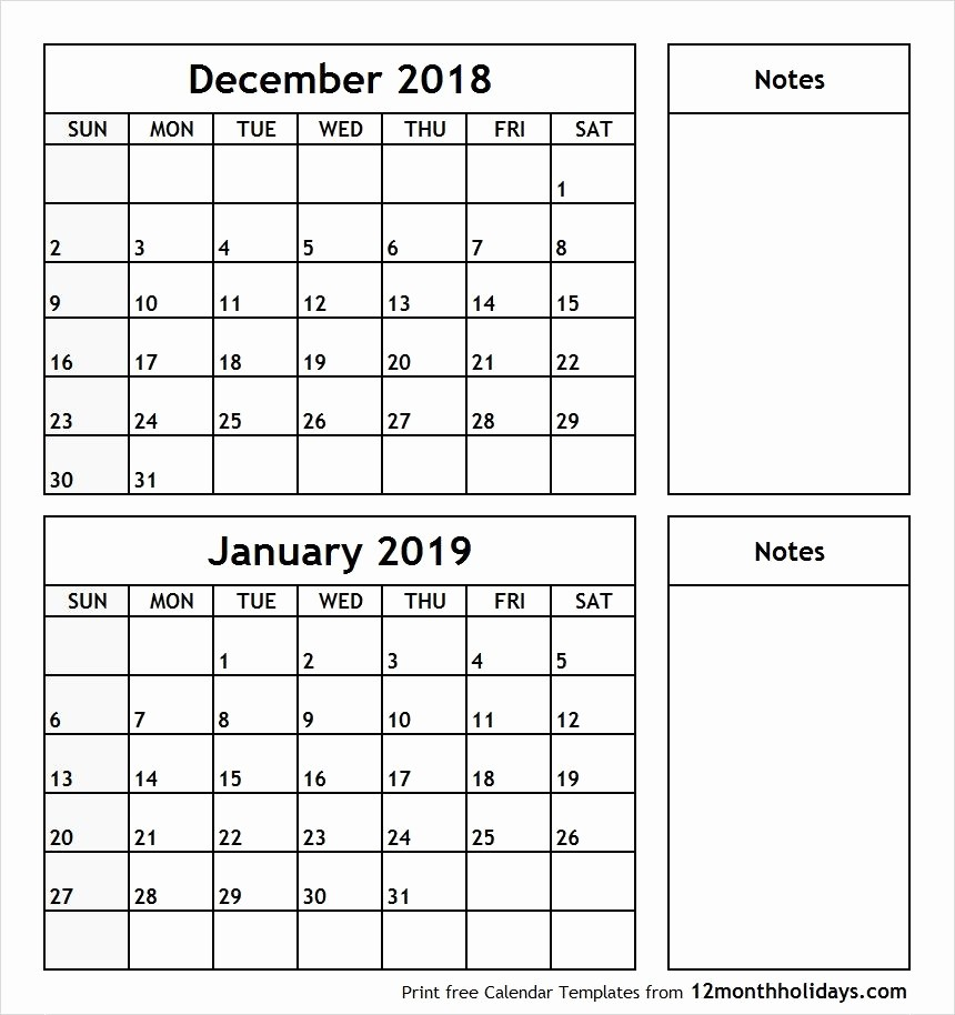 Printable Calendar 2018 and 2019 Best Of December 2018 January 2019 Printable Calendar