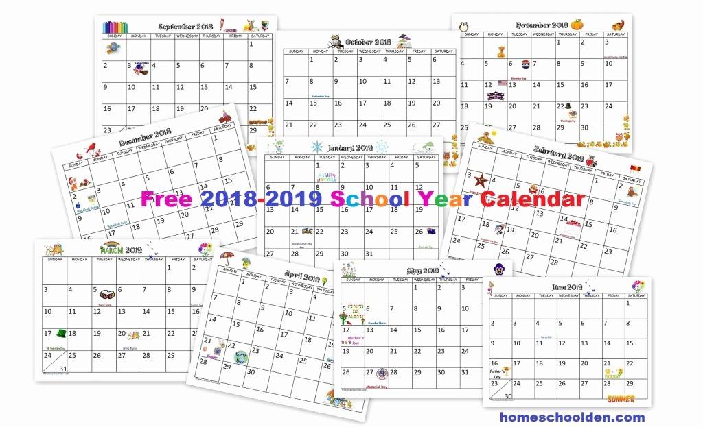 Printable Calendar 2018 and 2019 Best Of Free 2018 2019 Calendar Printable Homeschool Den