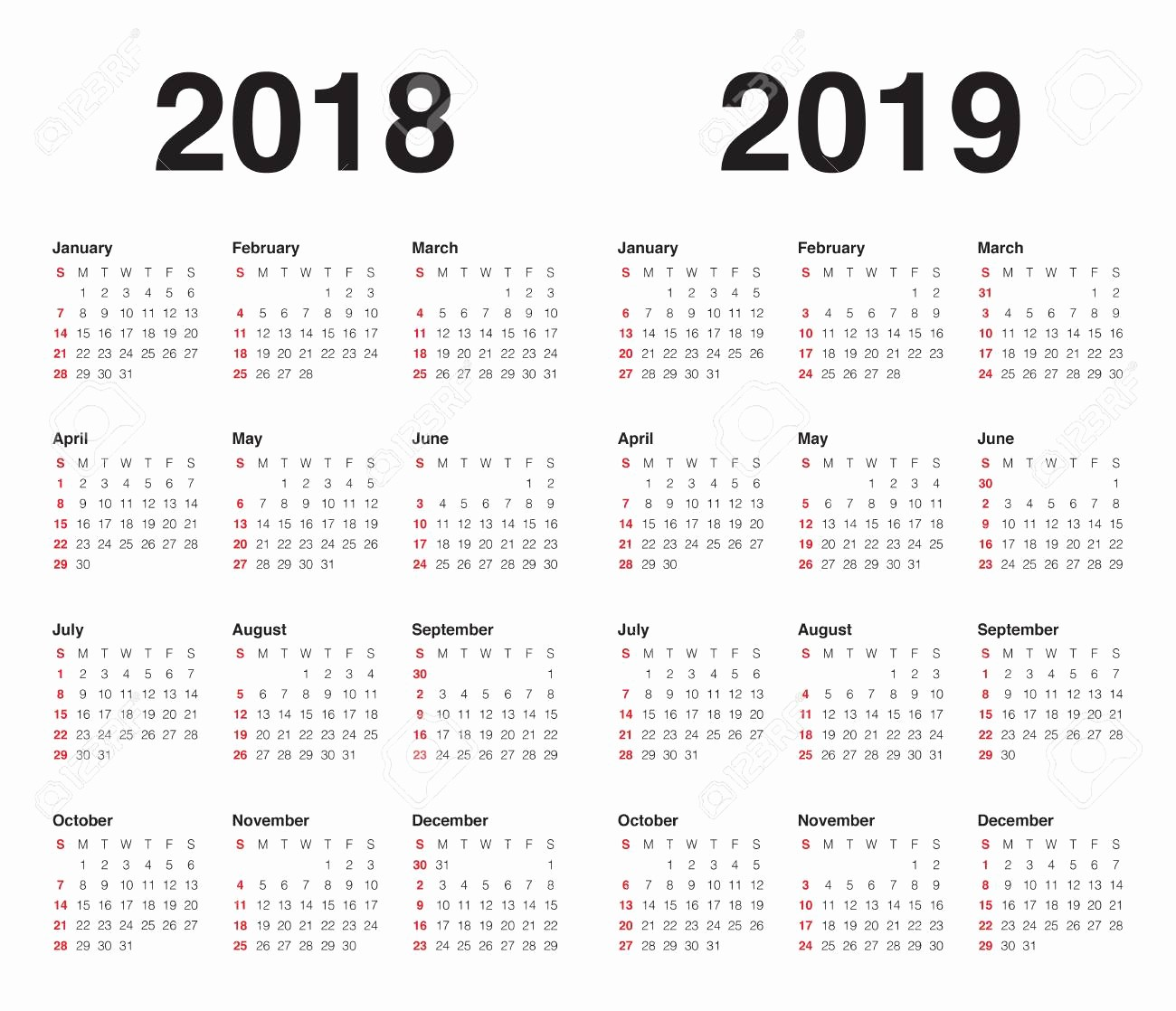 Printable Calendar 2018 and 2019 Best Of Free Calendar for 2018 2019