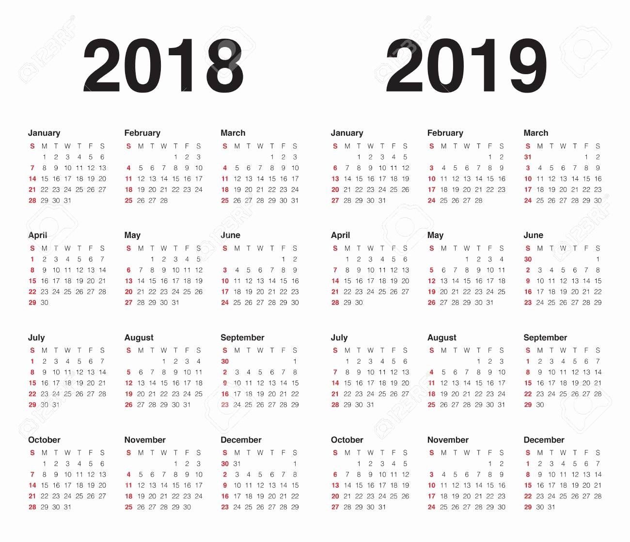 Printable Calendar 2018 and 2019 Best Of Free Calendar for 2018 2019