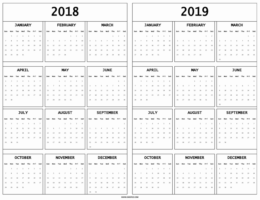 Printable Calendar 2018 and 2019 Elegant Year Calendar Pdf 2018 and 2019 School
