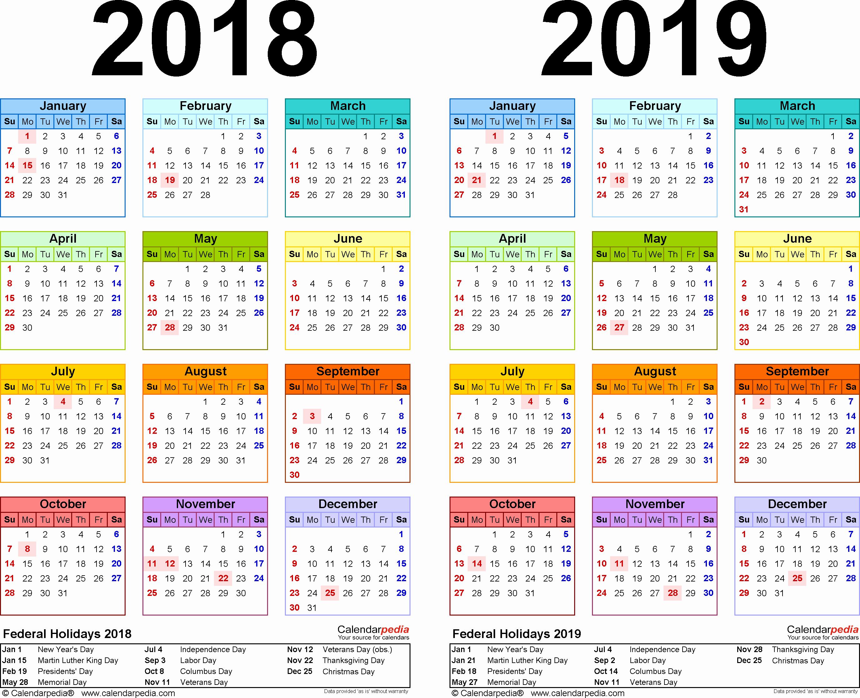 Printable Calendar 2018 and 2019 Fresh 2018 2019 Calendar Free Printable Two Year Pdf Calendars