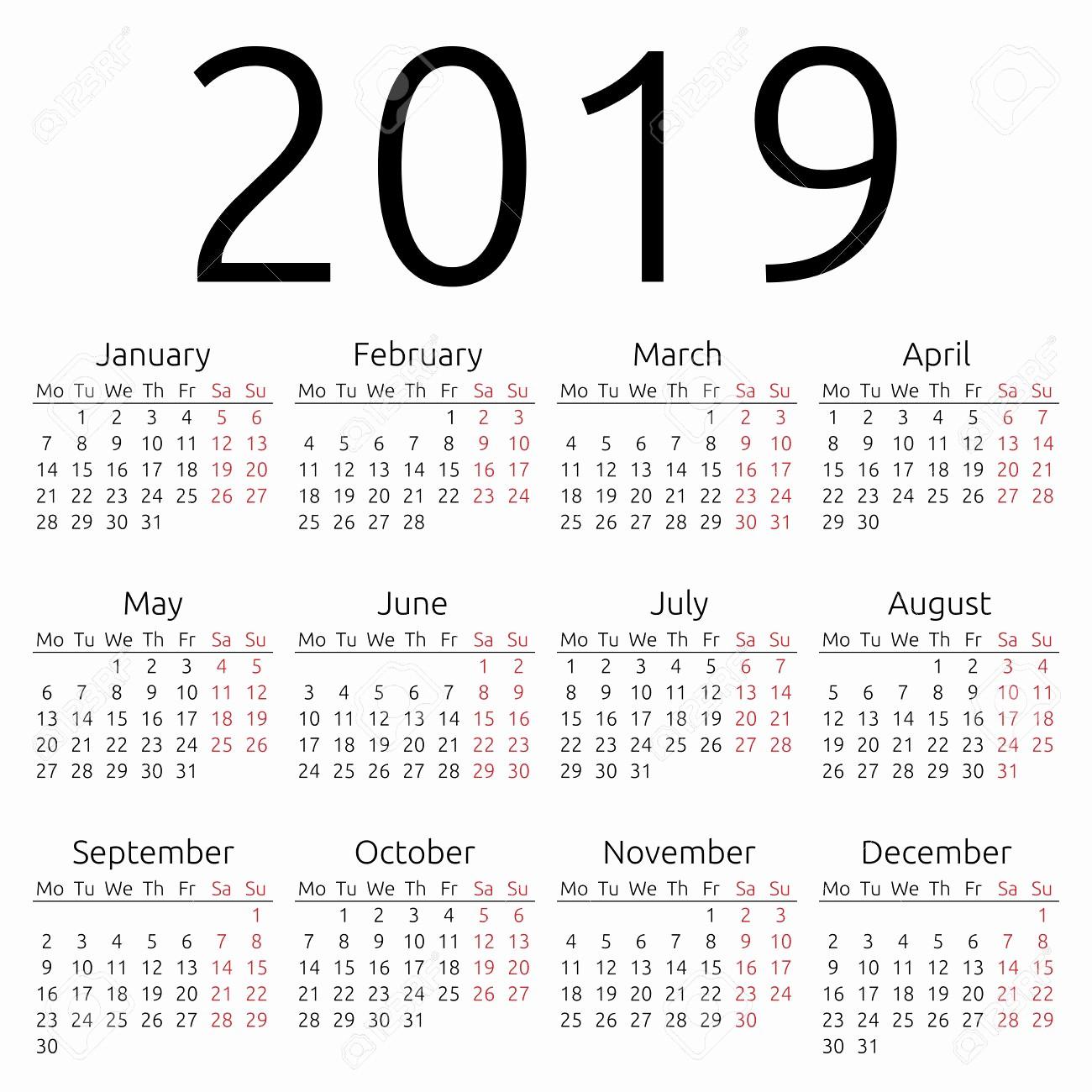 Printable Calendar 2018 and 2019 Inspirational Yearly Calendar 2019