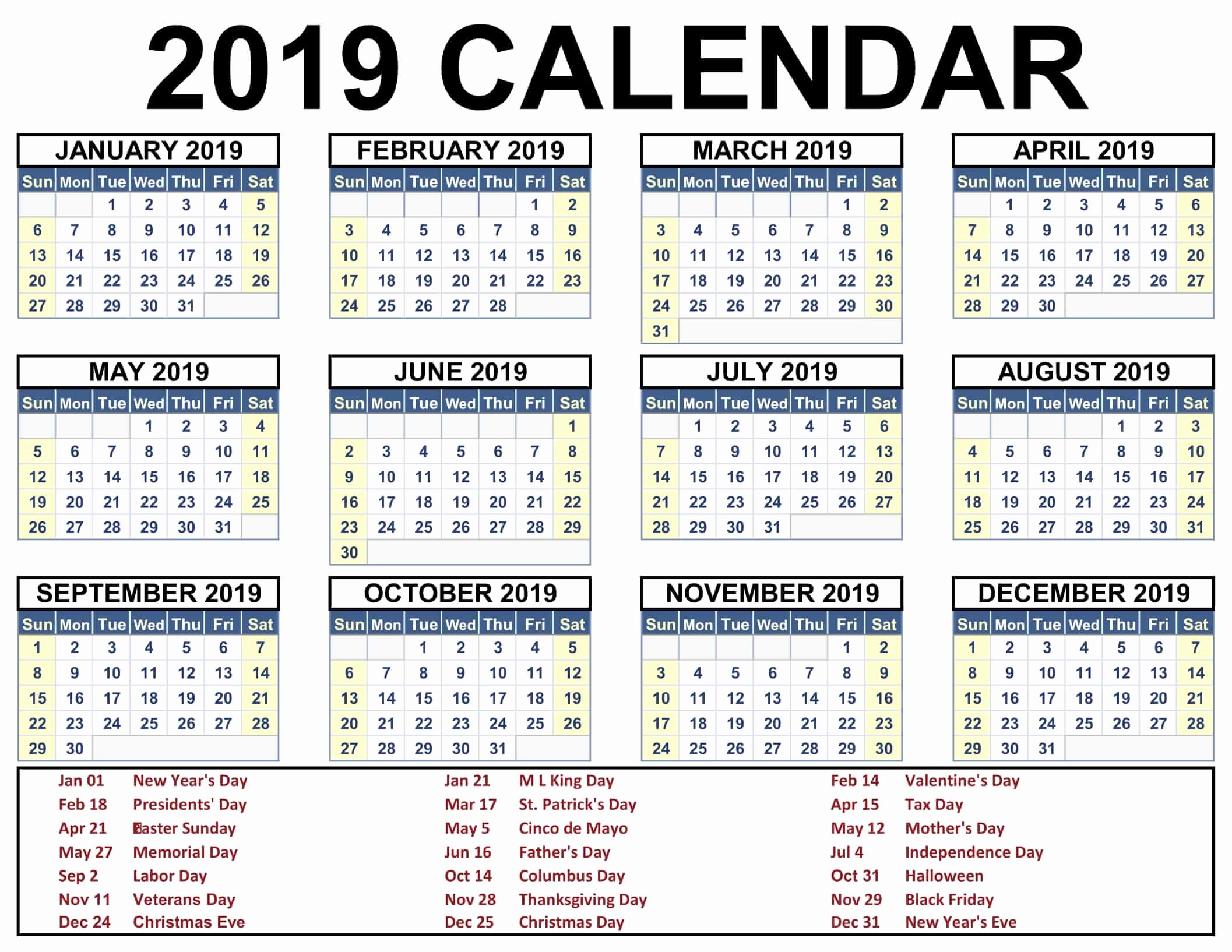Printable Calendar 2018 and 2019 Luxury 2019 Calendar Holidays Usa India Uk Canada Australia
