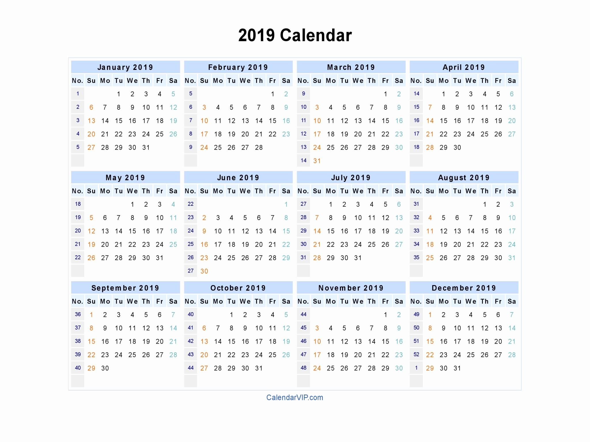 Printable Calendar 2018 and 2019 Luxury 2019 Calendar