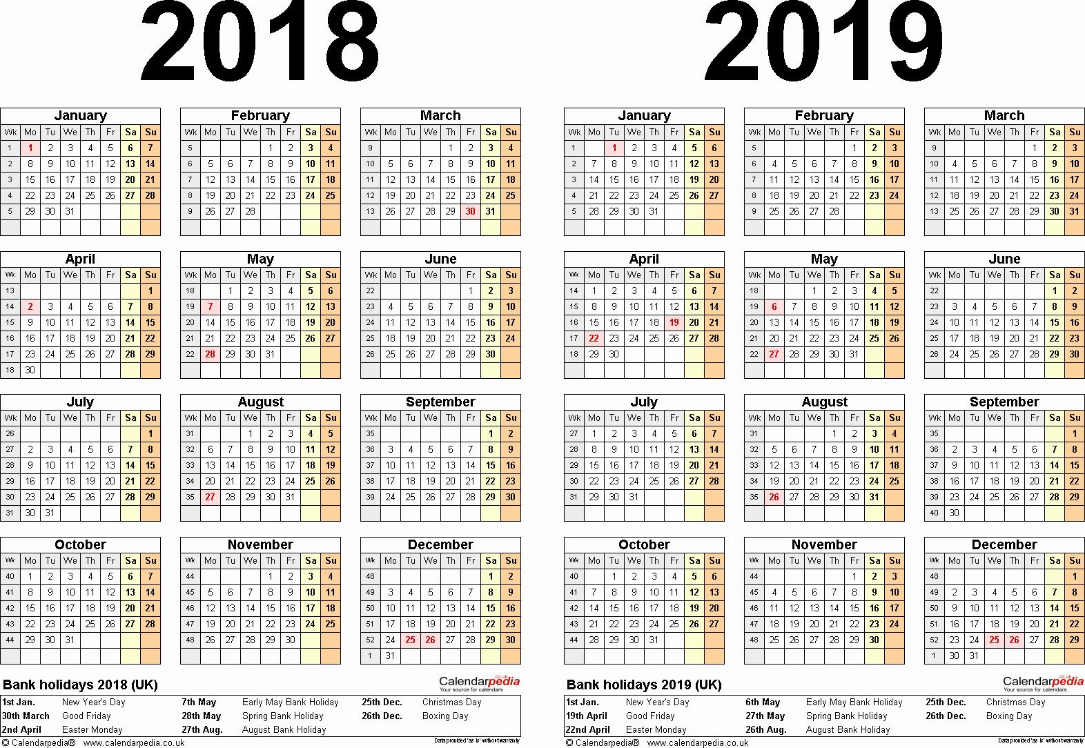 Printable Calendar 2018 and 2019 Luxury June 2019 Calendar with Holidays Uk