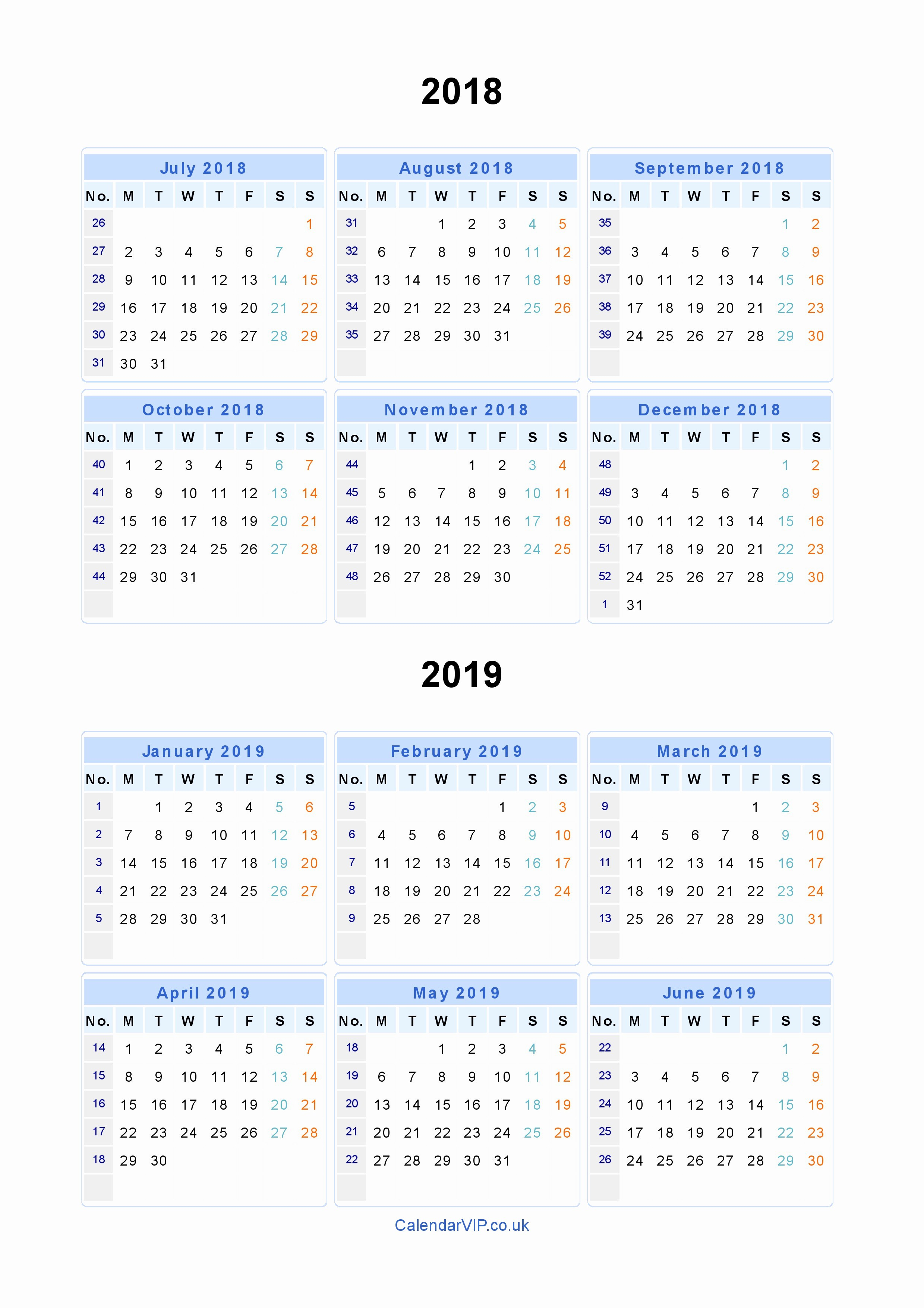 Printable Calendar 2018 and 2019 Luxury Split Year Calendars 2018 2019 Calendar From July 2018