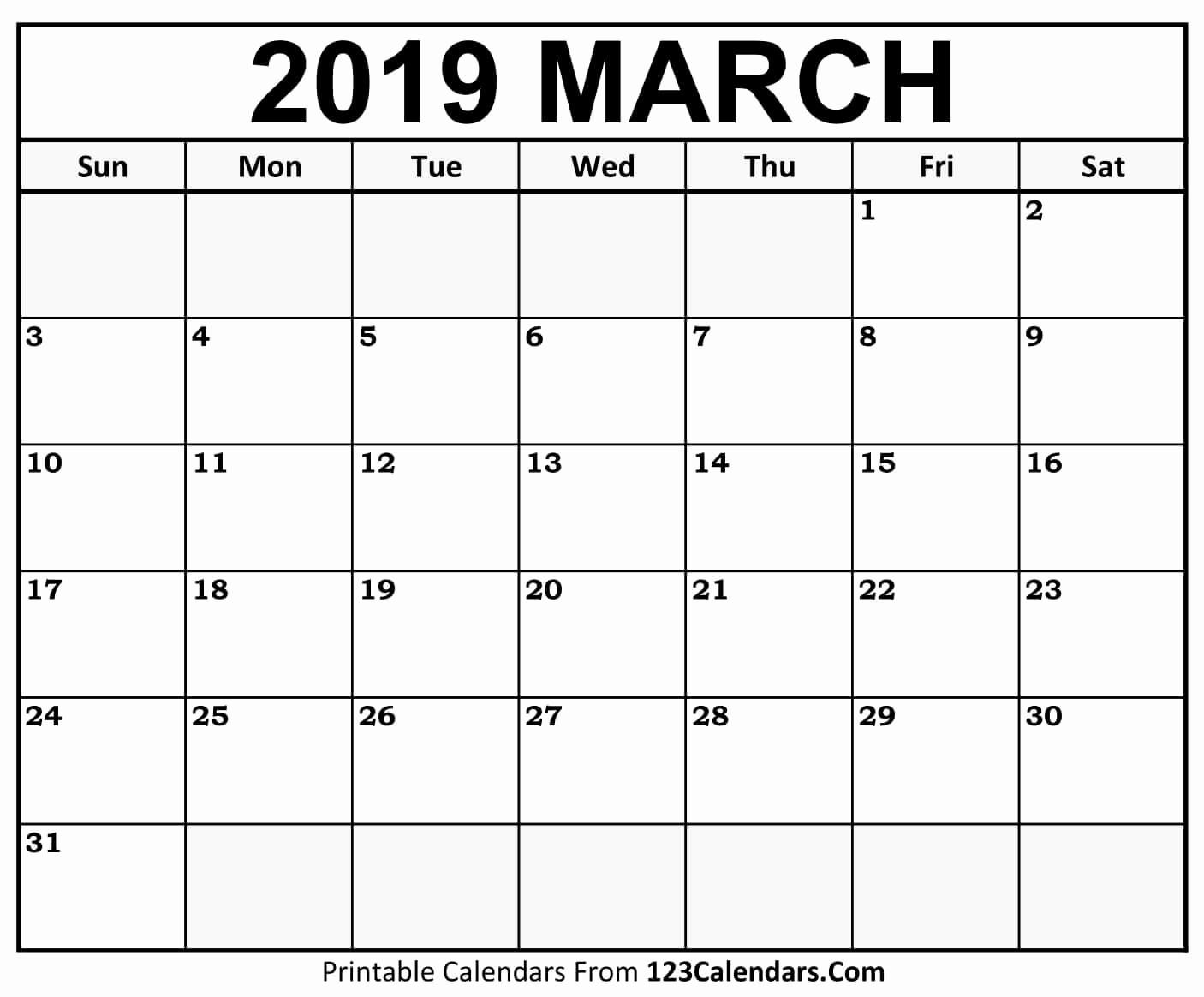 Printable Calendar 2018 and 2019 Unique Printable March 2018 Calendar Templates 123calendars