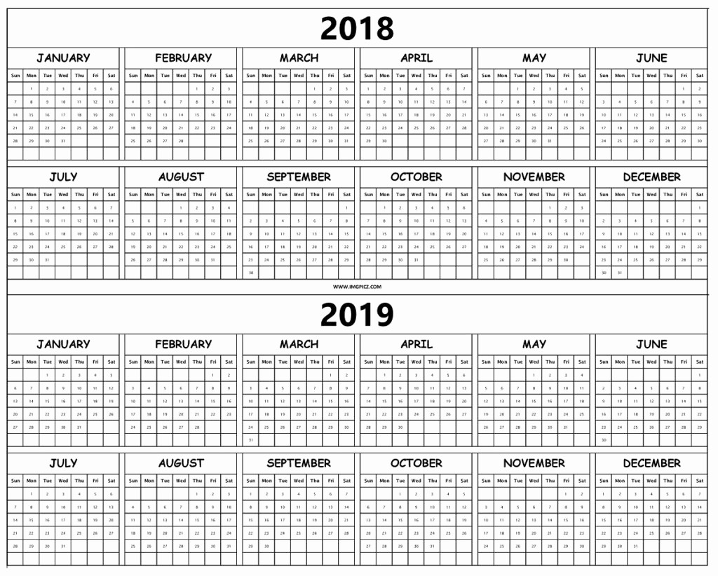 Printable Calendar 2018 and 2019 Unique Printable Yearly Calendar 2018 2019